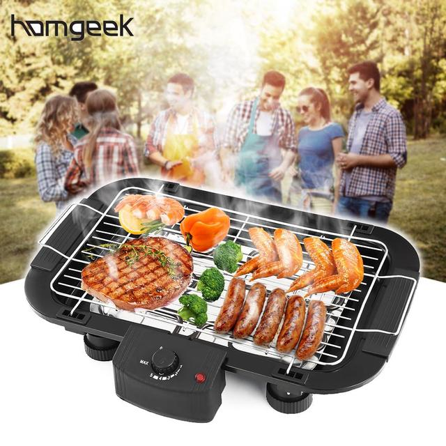 Household Electric Barbecue Grill Cooking Broiler Garden Black ...