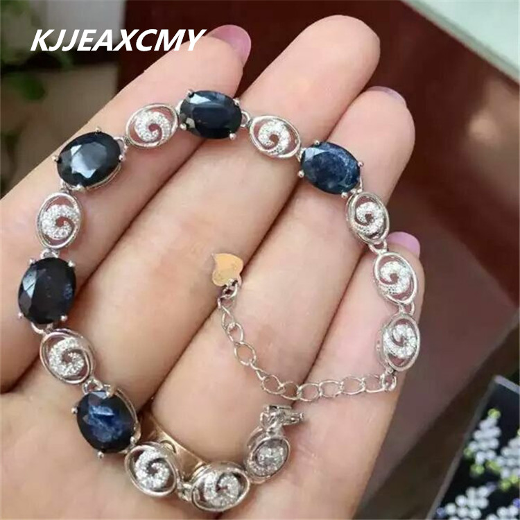 KJJEAXCMY Fine jewelry Natural sapphire female bracelet inlaid jewelry wholesale S925 silver pure silver