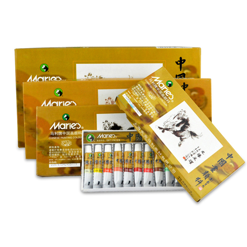 Maries Chinese Painting Pigment 12/18/24/36 Color Chinese Painting Set Beginner Painting Pigment Set