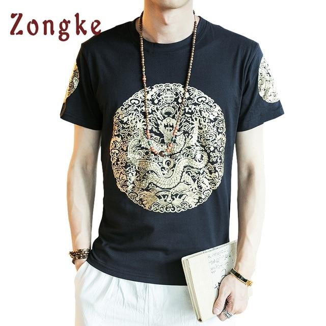 2018 Summer New Chinese Golden Dragon T Shirt Men tshirt T-Shirt Camiseta Masculina Camisetas Hombre Mens Funny T Shirts 5XL