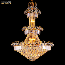 Large Hotel Silver Crystal Chandelier Light Fixture Gold or Lustre Hanging for Restaurant Lobby Staircase MD8514