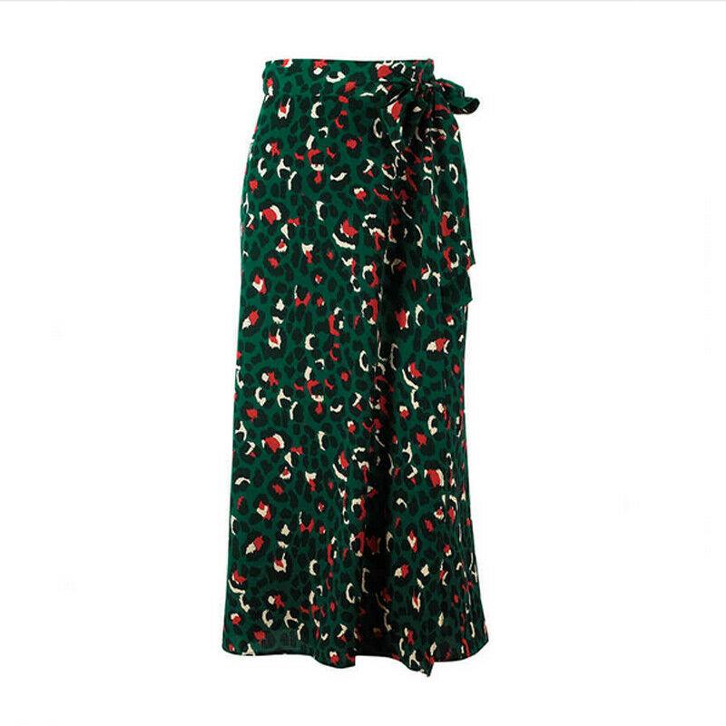 2019 New Trendy Summer High Waist  Ladies Sexy Leopard Knee-Length Skirt Boho Beach Vacation Party Skirt