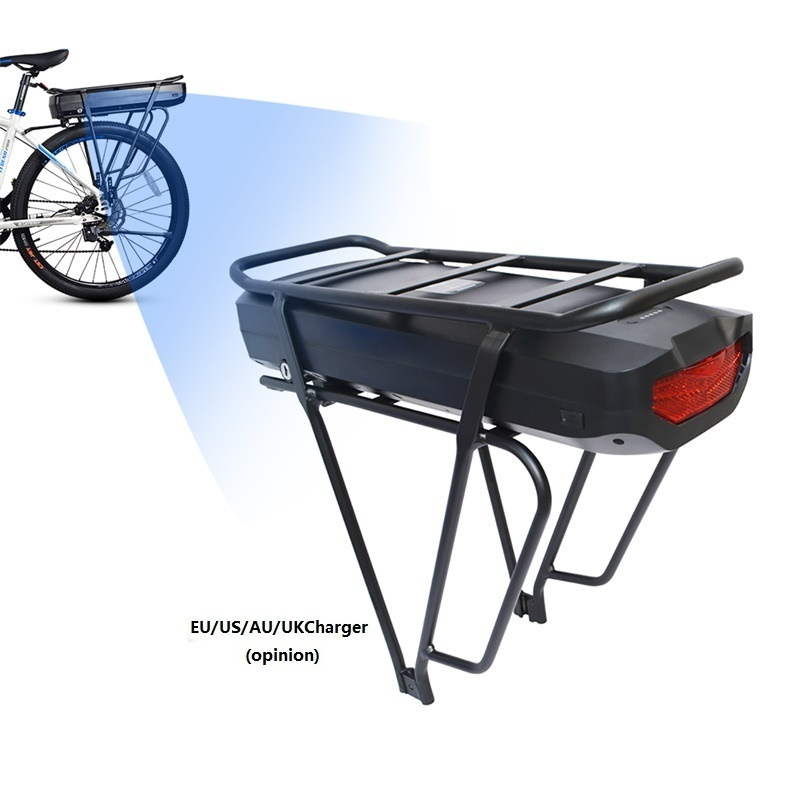 Electric Bicycle 48V 17 5Ah Rear Rack Battery Pack For eBike with Luggage Hanger Taillight USB