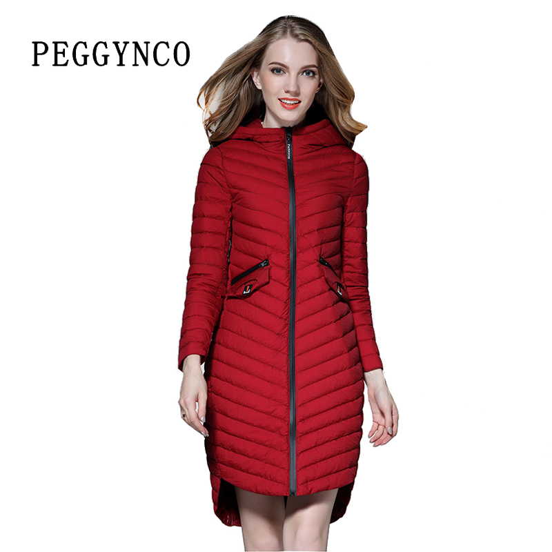 Women Long Parka Donna Italy 2017 Spring Red Quilted Coats Lady ...