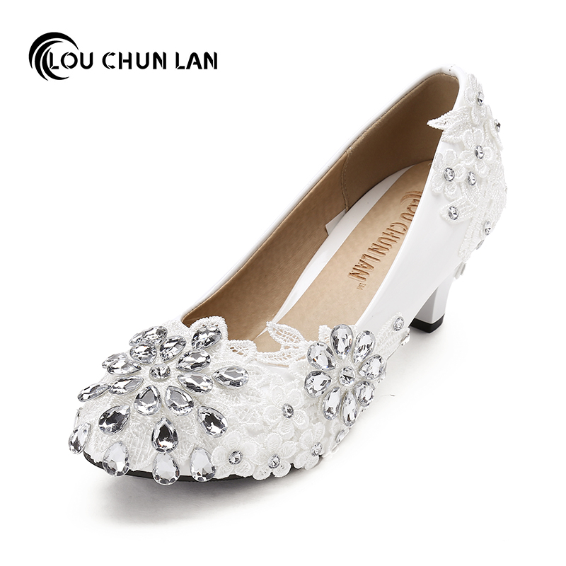 Large size 41 52 Sweet Lace Flower Bride Bridesmaid Shoes Wedding Dress Shoes Crystal Rhinestone White
