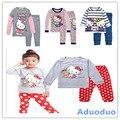 Новый 2016 осень комплект одежды, зимний костюм, детские детские девушка пижамы, hello kitty, толщиной термобелье, дети пижамы набор