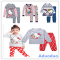 Nuevo 2016 de la ropa del otoño, traje de invierno, los niños del bebé de los pijamas, hello kitty, gruesa ropa interior térmica, pijamas de los cabritos fijaron