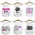 Nuevo Diseño de Letras Sueltas Blusas Cute Girl Sexy Recortada Mujeres Tank Top Summer Camisola Harajuku Jóvenes Chaleco Elástico