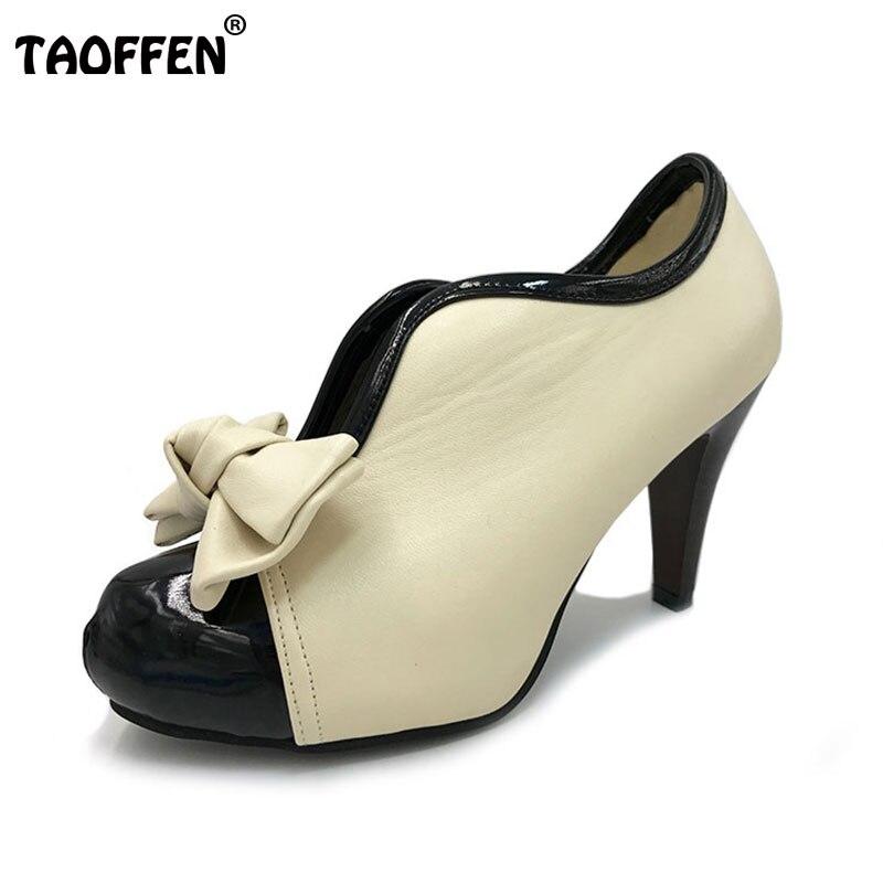 Женские винтажные туфли-лодочки бежевого цвета на высоком каблуке и платформе с круглым носком и узлом-бантиком размеры 35–43 H023