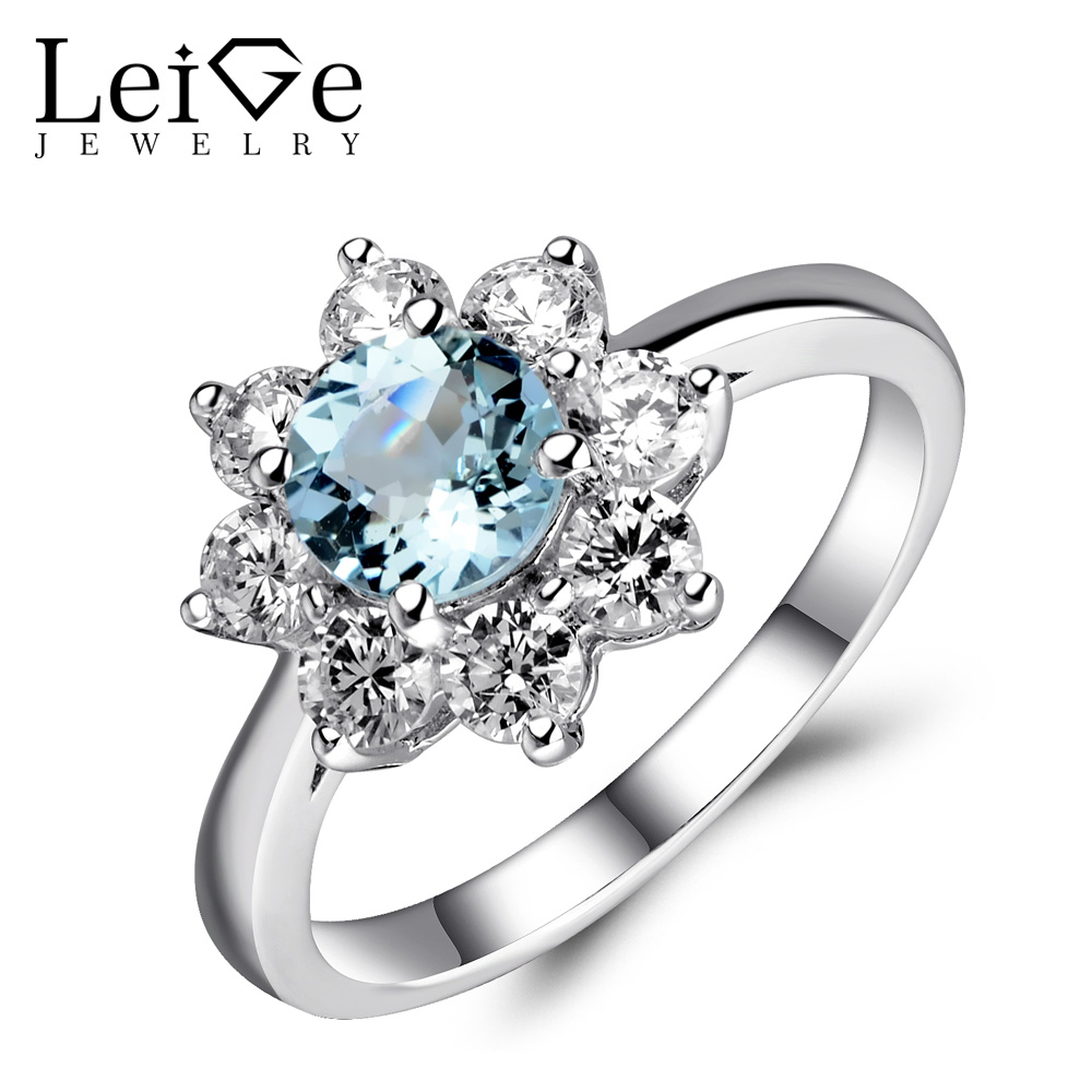 Leige Jewelry Genuine Aquamarine Ring Blue Gemstone Engagement Promise Rings Silver 925 Jewelry Round Cut Valentine Gifts