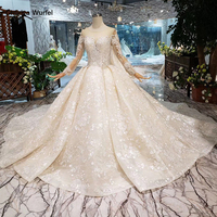 LS20479 Simple vintage Wedding Dress with wedding veil full sleeve button back o neck champagne bridal lace dress wedding gown