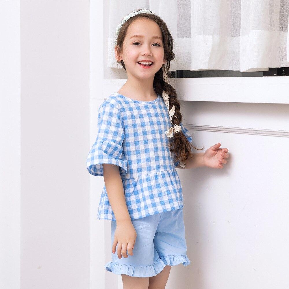 Summer Girl Princess Plaid Blouses + Shorts 2Pcs Children Cotton Clothes Set Kids Shirt + Pant Lovely Suit 4-10 Years