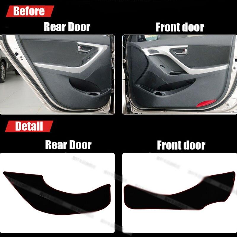 Ipoboo 4pcs Fabric Door Protection Mats Anti-kick Decorative Pads For Hyundai Elantra 2012-2015 ipoboo 4pcs fabric door protection mats anti kick decorative pads for hyundai elantra 2012 2015