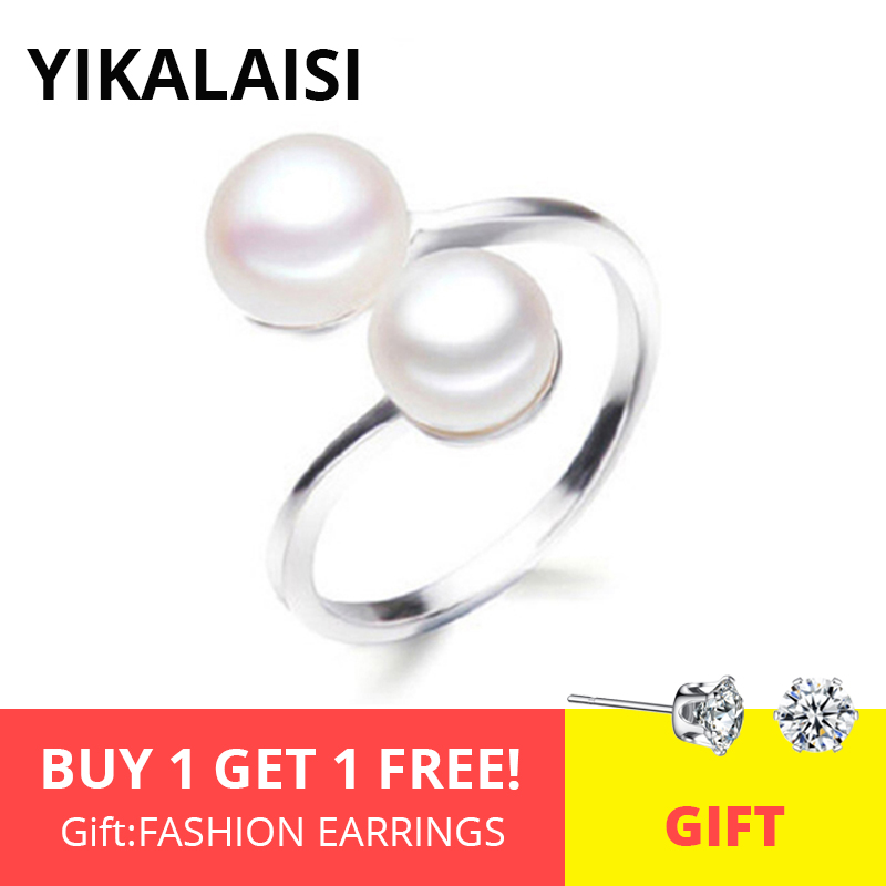 YIKALAISI 925 Sterling Silver Interlaced Natural Pearl Rings Jewelry For Women 8-9mm Freshwater Double Pearl Ring Adjustable