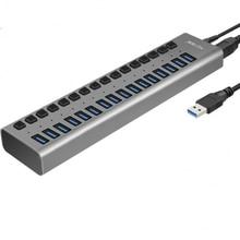 Acasis conector USB Hub 3,0 de alta velocidad, 16 puertos, USB 3,0, interruptor de encendido/apagado con cable de alimentación de 12V 6A para MacBook, portátil y PC