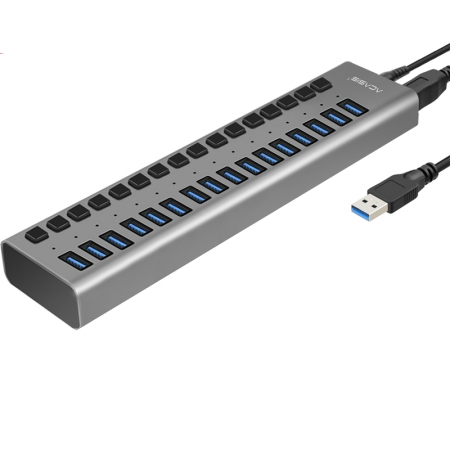 Acasis USB Hub 3.0 Haute Vitesse 16 Port USB 3.0 Hub Splitter On/Off avec 12 V 6A Alimentation Cordon pour MacBook PC Portable