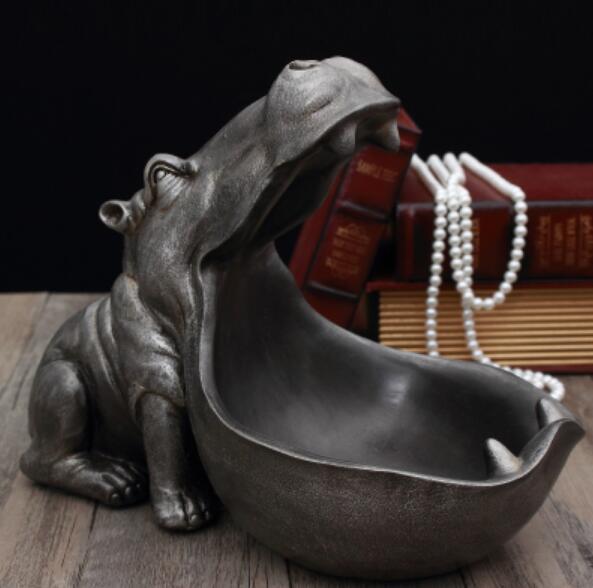 Hippopotamus statue decoration resin artware sculpture statue decor home decoration accessories esculturas escultura gift 3