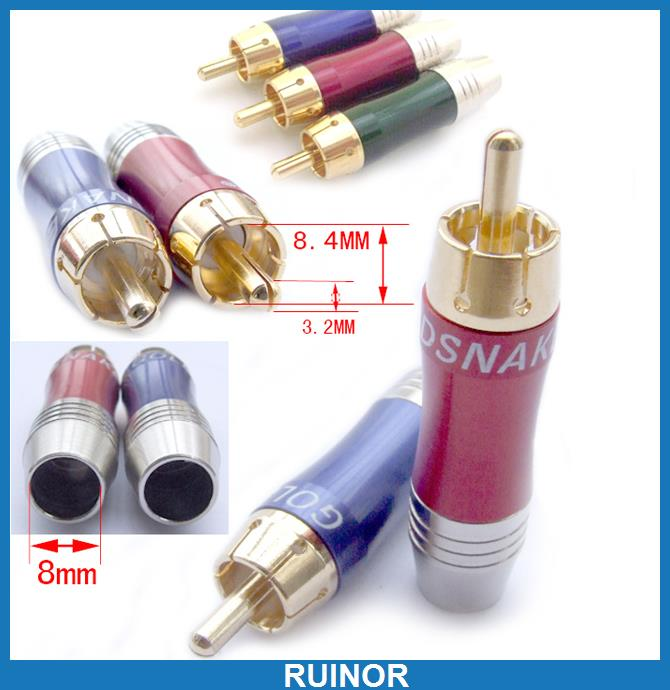 ФОТО 30pcs 3 Color Audio Video RCA Plug Aluminum Copper