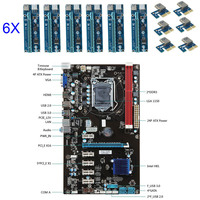 6pcs PCI E Extender Riser Card 6 GPU Mining Motherboard With Cable For BTC Eth Rig