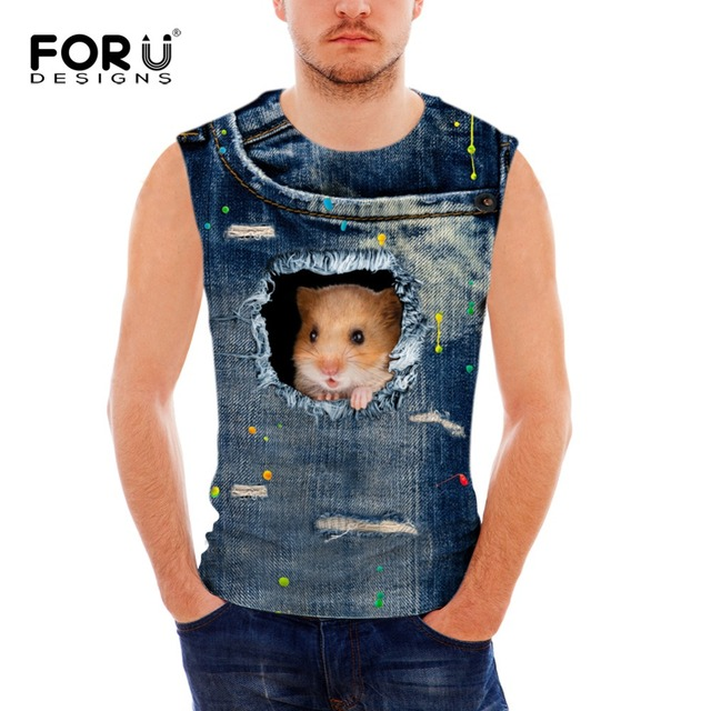 471c356dca738 FORUDESIGNS Men s 3d Jeans Cat Tank Tops Men Sleeveless T shirts O Neck Tank  Top Summer