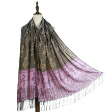 pashmina scarf musical note G-clefs Jacquard scarfs stoles wraps soft hand feeling polyester long