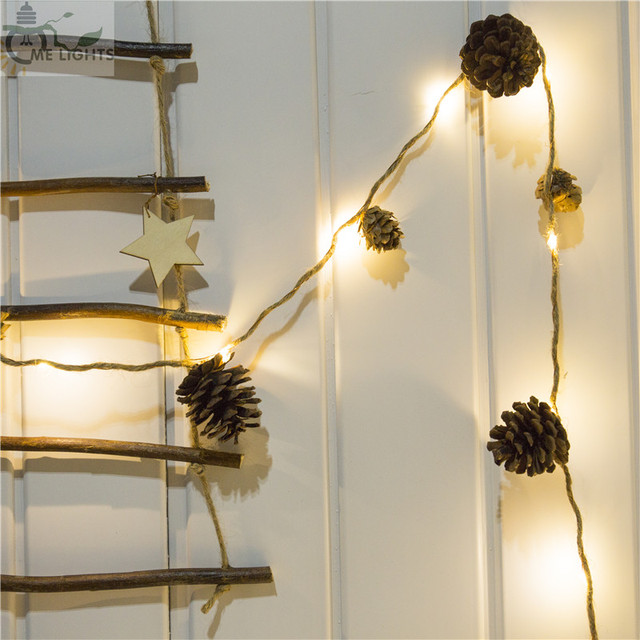 5M 50 LEDs Copper Wire String Lights With Real Pinecone Cone Twine ...