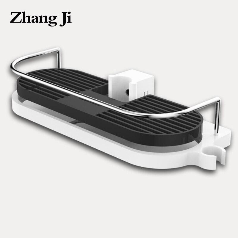 ZhangJi Bathroom Shelf Multifunction Storage Rack Shower Head Shampoo Holder Towel Tray Adjustable Single Tier Bathroom Shelves