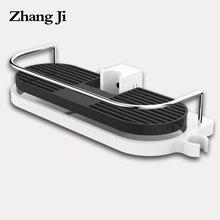 ZhangJi Bathroom Shelf Multifunction Storage Rack Shower Head Shampoo Holder Towel Tray Adjustable Bathroom Shelves Single Tier