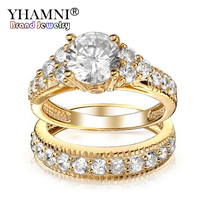 YHAMNI Non fading Rings Set Fine Jewelry Gold Color Cubic Zirconia Rings Set For Women Engagement Wedding Gift Ring YDRA004