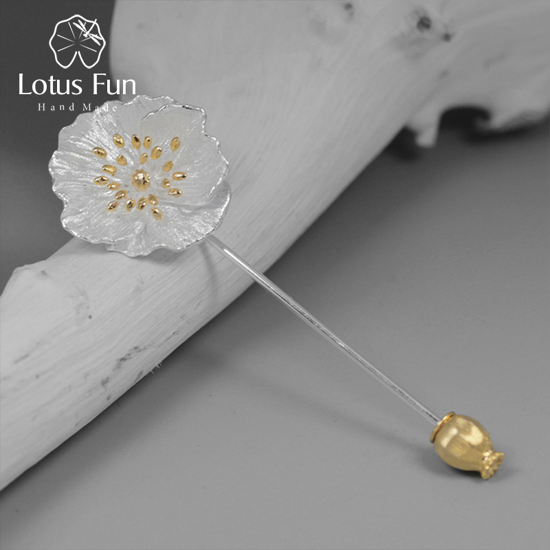 Lotus Fun Real 925 Sterling Silver Handmade Designer Fine Jewelry Blooming Poppies Flower Brooches for Women Brincos lotus fun real 925 sterling silver handmade fine jewelry natural crystal lily of the valley flower brooches for women brincos