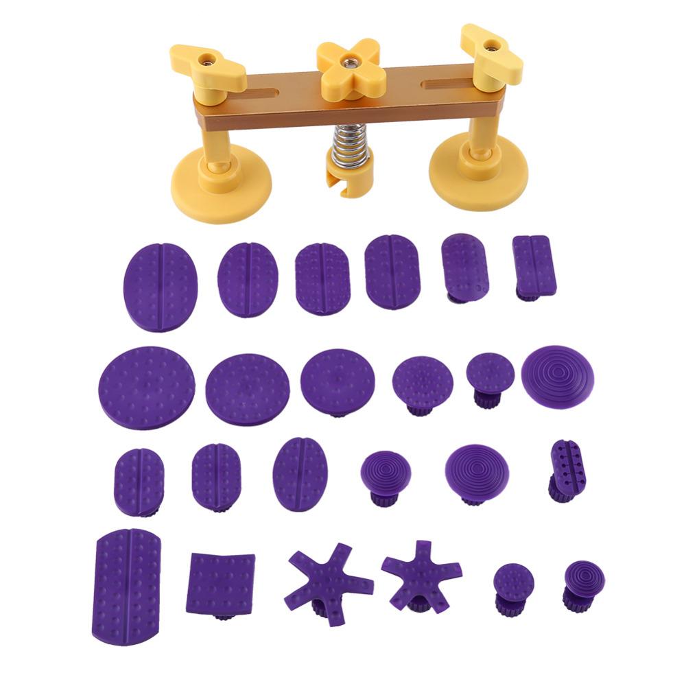 Prix pour Voiture Corps Dent Réparation De Grêle Enlèvement Pont Extracteur Avec 24 Pcs Violet Colle Onglets Kit Auto Maintence Outil