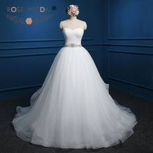 Rose Moda Ball Gown with Crystal Sash Lace Up Back Wedding Dresses Plus Size robe de mariee princesse bustier(China)