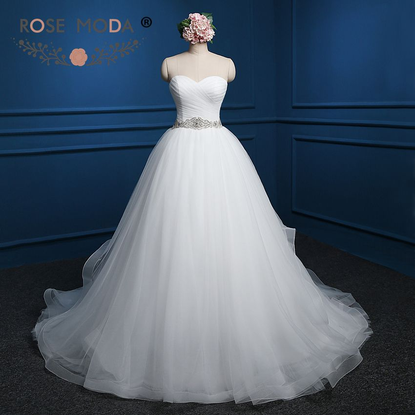 Rose Moda Ball Gown With Crystal Sash Lace Up Back Wedding
