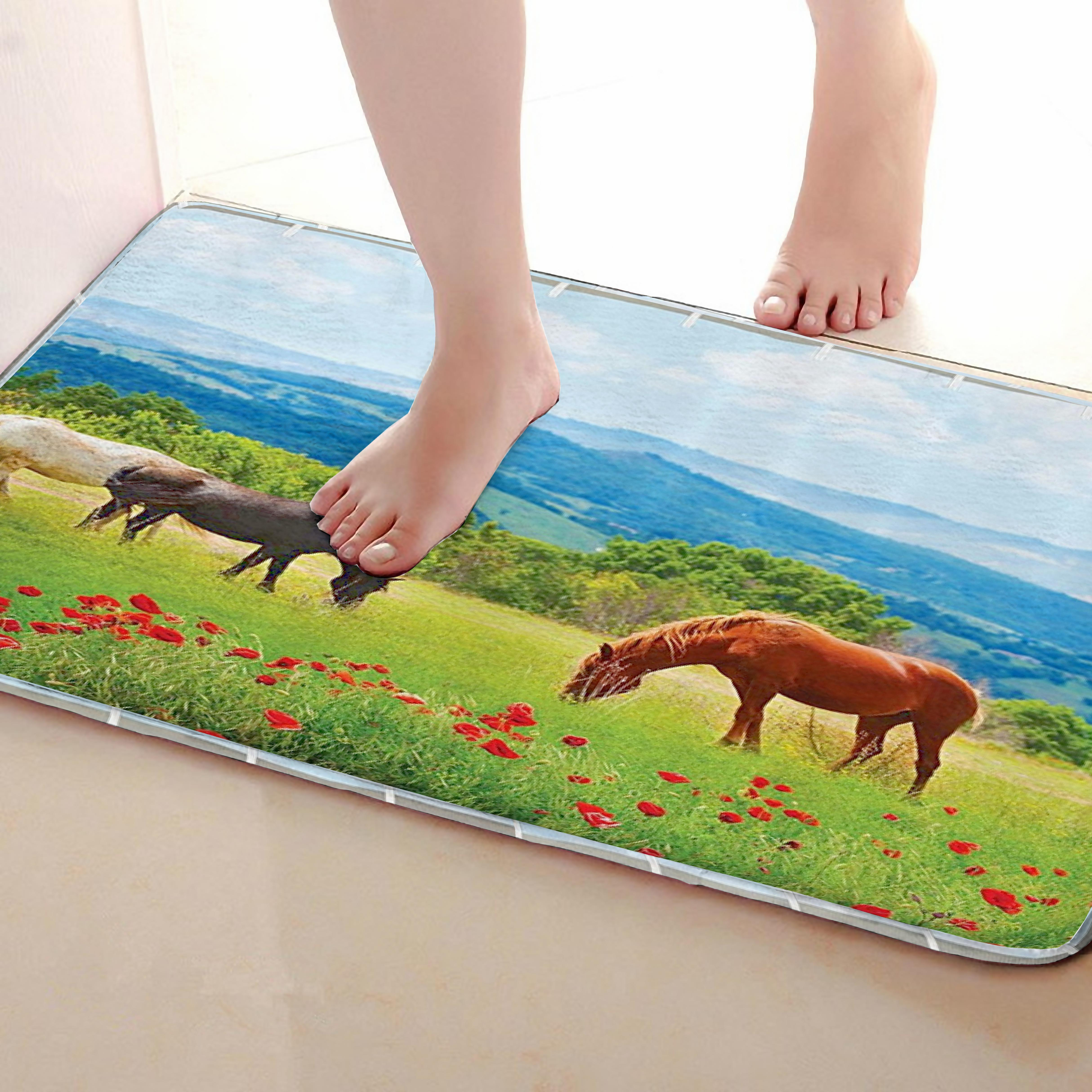 Horse Style Bathroom Mat,Funny Anti skid Bath Mat,Shower Curtains Accessories,Matching Your Shower Curtain
