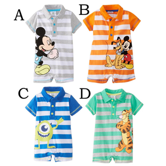 540c4e7a0 Cute baby boys casual sport rompers new summer infant jumpers baby wear  outwear navy striped cartoon mickey design rompers 16J21