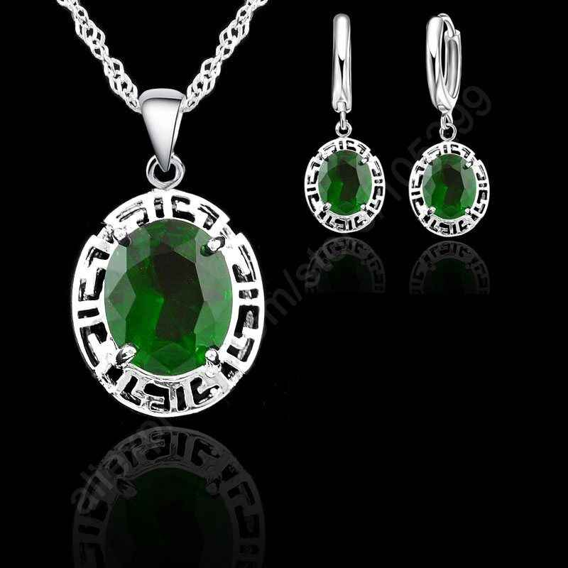 Neue Ankunft Schmuck Sets 925 Sterling Silber Farbe Runde Mode Hochzeit Jewelrys Ohrringe Halskette Romantische Geschenk Für Liebhaber