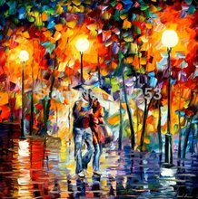 2016 Home Decor Rushed Top Quality Wall Art Knife Oil Painting Romantic Night Lover Under The Umbrella free Shipping