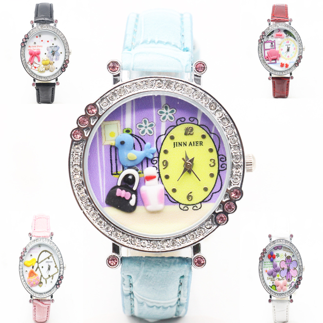 2018 new polymer clay mini bear diamond girl students watch European fashion wat
