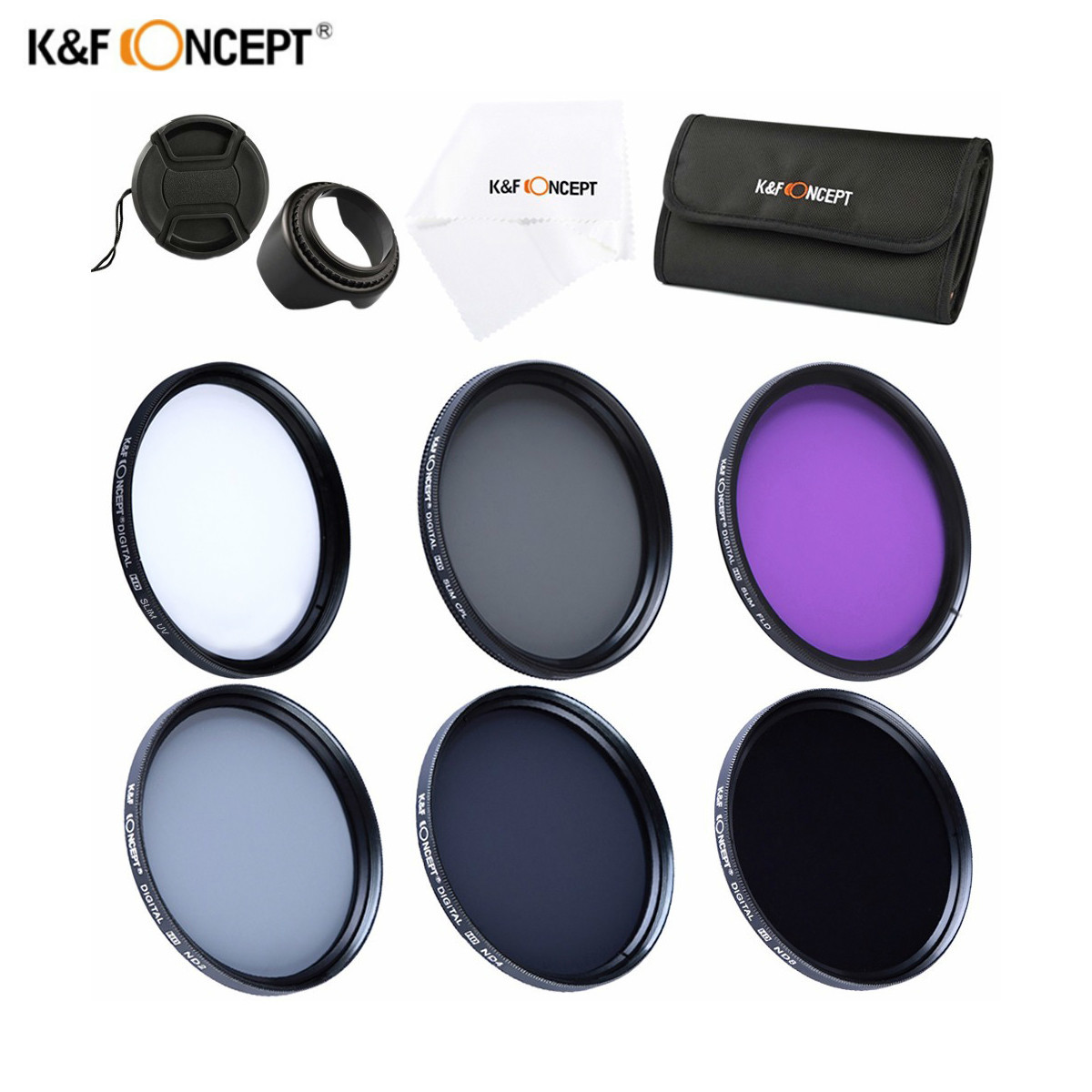 K & F CONCEPT CPL UV FLD ND2 ND4 ND8 Lens Filter Set pour Canon Nikon 37 MM 40.5 MM 49 MM 52 MM 55 MM 58 MM 62 MM 67 MM 72 MM 77 MM polariseur