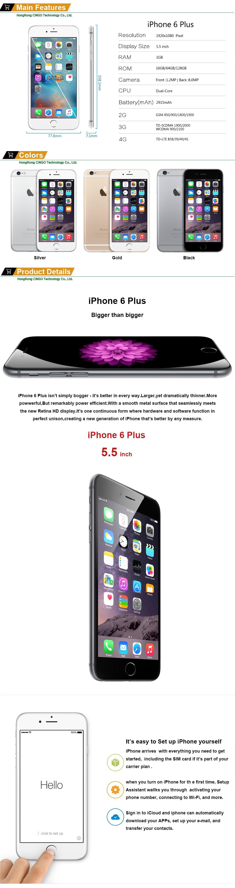 Débloqué Original Apple iPhone 6 Plus 16/64/128 GB ROM 1 GB RAM