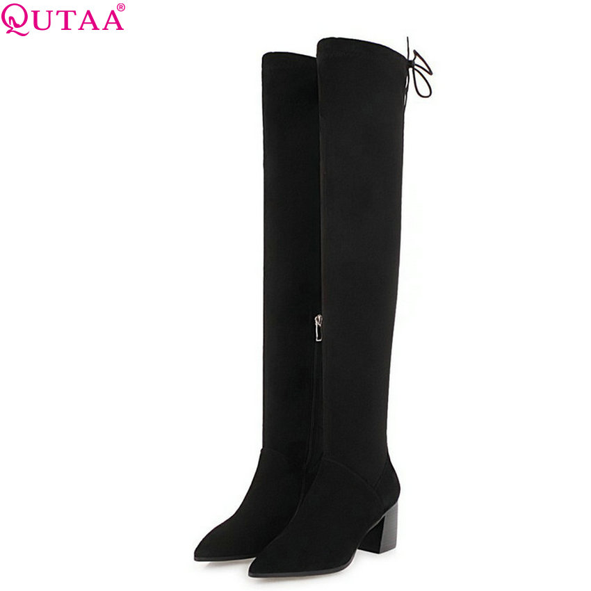 QUTAA 2019 Women Over The Knee High Boots Fashion Women Boots Platform Winter Shoes Women Motorcycle Boots Big Size 34-43 big size riding equestrian boots fashion platform over the knee high heels boots for women shoes eur size34 43