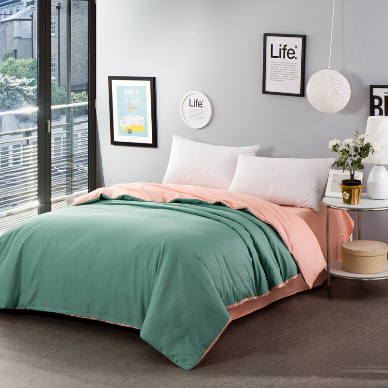 Stylish rouge green solid color two-sided color duvet cover 4 size bed covers bedding cotton single quilt cover home textile