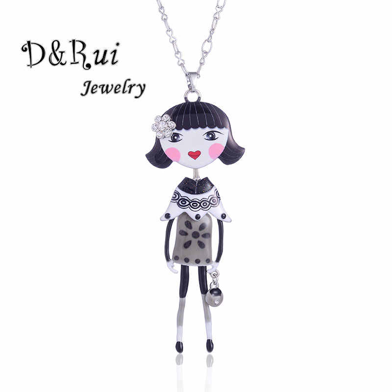 Statement Chain Enamel Vintage Figure Doll Necklace Pendant Female Clothes Collar Decoration Fashion Jewelry For Women Gifts
