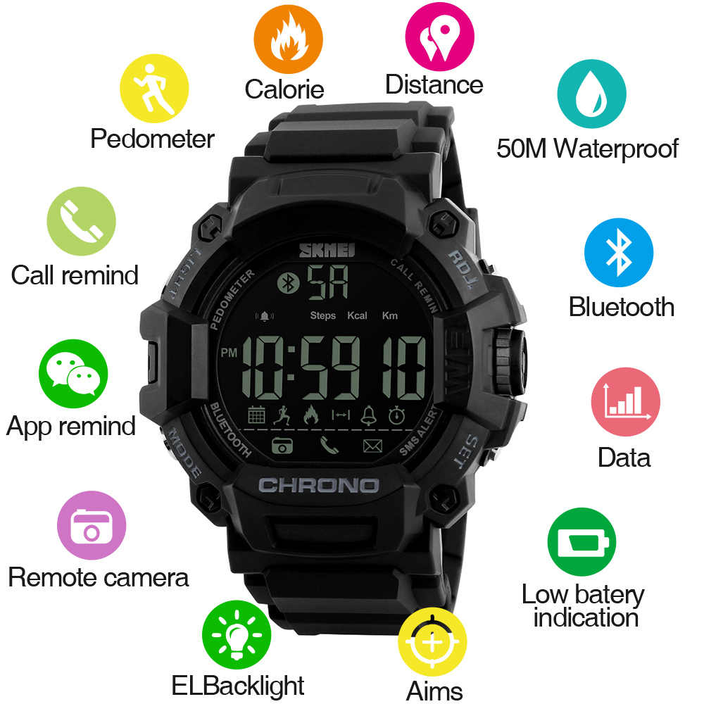 04a81e04714 Detail Feedback Questions about SKMEI Men Smart Watch Calories Pedometer  Step Waterproof Bluetooth Watches Man Call SMS Reminder Smartwatch for ios  android ...