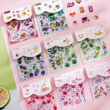 40pc/bag Kawaii Plant Diary Sticker Cartoon Flowers And Plants Transparent Sticke DIY Scrapbook Decoration Stickers Stationery(China)