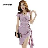 YAGENZ Women Dress Summer Sexy Club Dresses 2019 New Fashion V neck Evening Gowns Sleeveless Party Dress Black White Purple A98