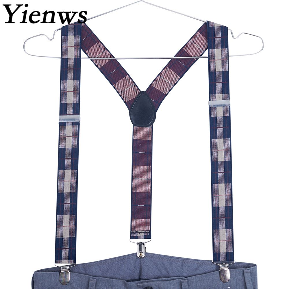 Yienws Men Suspenders 3 Clip Jacquard Suspenders Man For Pants Polka Dot Elastic Strap Mens Braces For Trousers 120cm YiA129