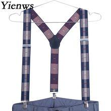 Yienws Men Suspenders 3 Clip Jacquard Suspenders Man for Pants Polka Dot Elastic Strap Mens Braces for Trousers 120cm YiA129