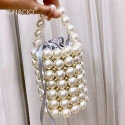 Acrylic pearls bag beaded Vintage bucket totes women plastic evening party Small mini handbag 2019 summer luxury brand wholesale