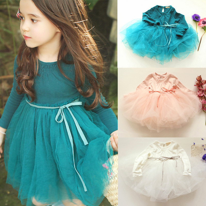 Autumn winter Girls Dress 2017 Casual Long Sleeves Cotton Mesh Tutu Kids Dresses For Girl Autumn Clothing Cute Princess Dress girls dress winter 2016 new children clothing girls long sleeved dress 2 piece knitted dress kids tutu dress for girls costumes